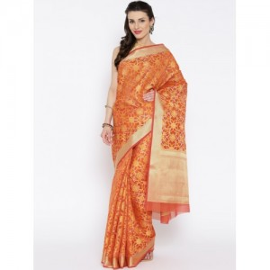 Banarasi Style Orange Cotton Silk Patterned Banarasi Saree