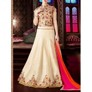 PR Fashion Beige Art Silk Embroidered flared lehenga