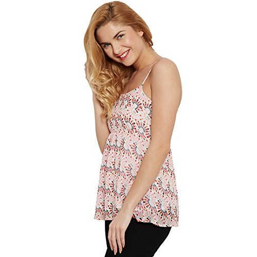 5e47d888f885f1 ... The Vanca Women s Camisole red printed top flourished with smocking at the  back ...