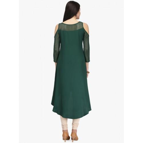 Ojjasvi Women Green Solid Cold Shoulder High-Low A-Line Kurta