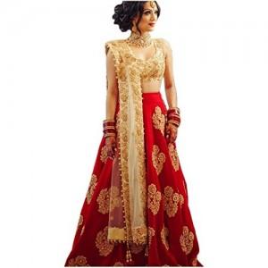 ClassyFashion Red & Beige Taffeta Silk Bridal Lehenga