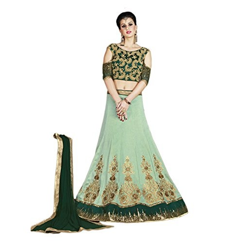 Perfect Resource Art Silk Pastel Green Color Lehenga Choli