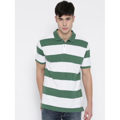 6b135475d Buy Red Tape Men Green   White Striped Slim Polo Collar T-shirt ...