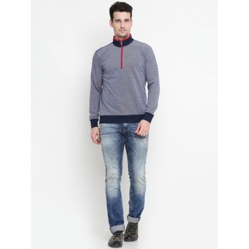 Status Quo Men Navy Solid Sweatshirt