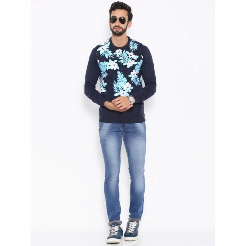 Status Quo Men Navy Blue Printed Pullover Sweatshirt