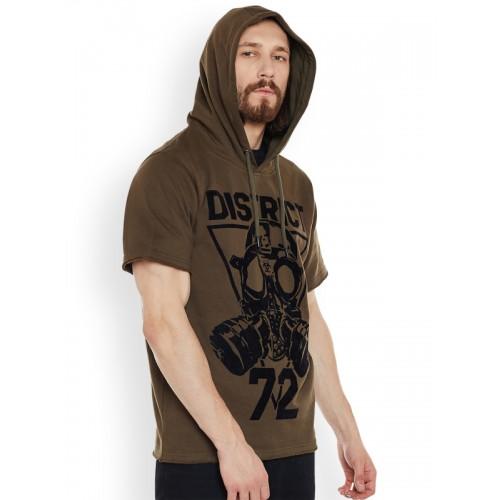 PUNK Men Olive Brown Printed Hooded Sweatshirt