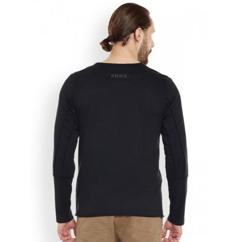PUNK Men Black Solid Sweatshirt