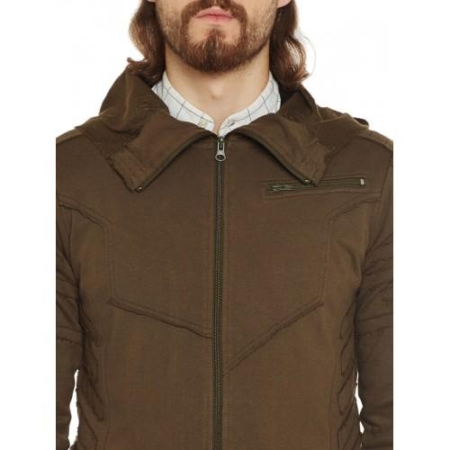 PUNK Men Olive Brown Solid Hooded Sweatshirt