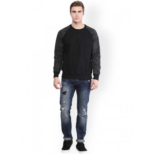 PUNK Black Printed Full Sleeve Sweatshirt