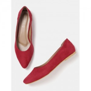 DressBerry Women Red Solid Synthetic Ballerinas