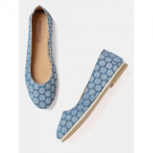 DressBerry Women Blue Printed Ballerinas