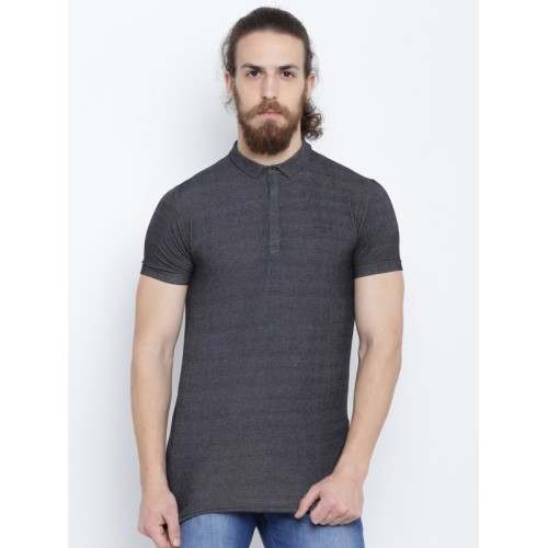 Status Quo Men Charcoal Grey Solid Polo Collar T-shirt