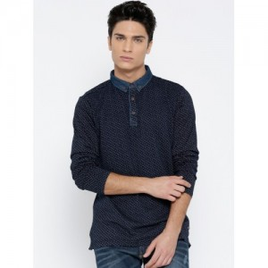Status Quo Men Navy Printed Button-Down Collar T-shirt