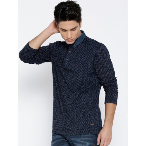 Status Quo Men Navy Printed Button-Down Collar T-shirt