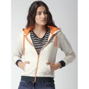 Mast & Harbour Women Grey Melange Solid Hooded Sweatshirt