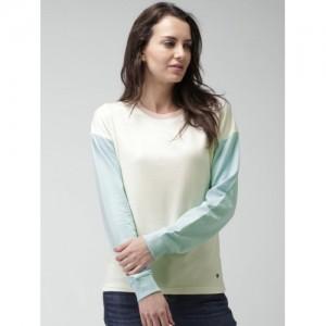 Mast & Harbour Cream-Coloured & Blue Sweatshirt