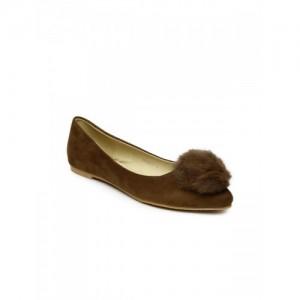 Addons Women Brown Solid Pointed-Toe Ballerinas