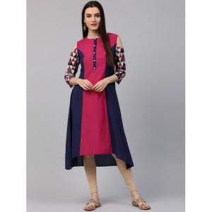 Nayo Women Blue & Pink Colourblocked A-Line Kurta