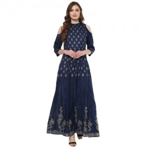 Navy Blue poly silk anarkali kurta