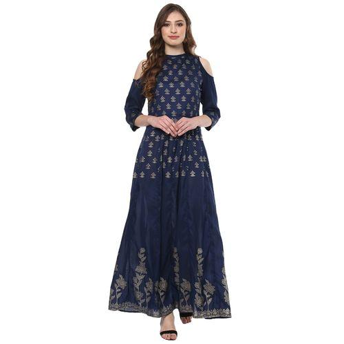 b467321b237 Buy Navy Blue poly silk anarkali kurta online