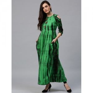 Rain & Rainbow Women Green & Black Dyed A-Line Kurta