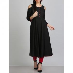 KAANCHIE NANGGIA black silk blend a-line kurta