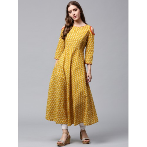 9f3f03888 Buy Nayo Women Mustard Yellow Printed Anarkali Kurta online ...