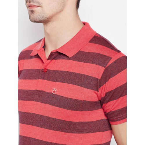 Sweet Dreams Men Coral Red & Black Striped Polo Collar T-shirt