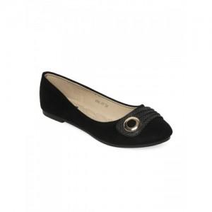 Flat n Heels Women Black Solid Velvet Ballerinas