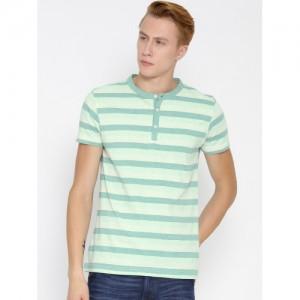 American Crew Men Green Striped Henley T-Shirt