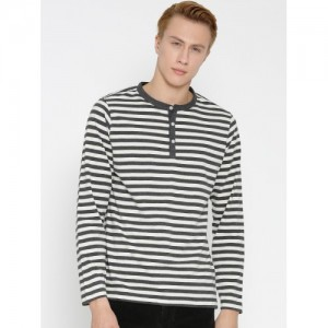 American Crew Men Off-White & Charcoal Grey Striped Henley T-shirt