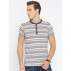 American Crew Men Beige Striped Henley T-Shirt