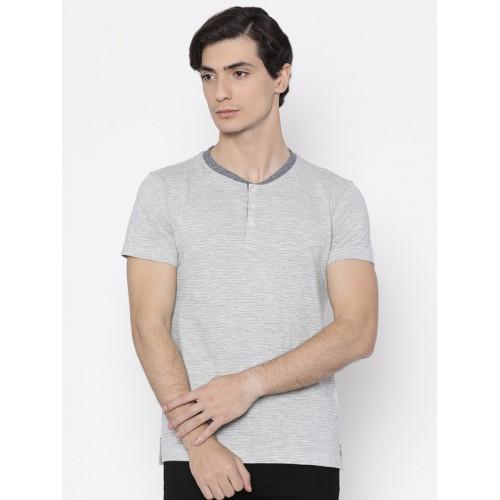 American Crew Men Off-White & Black Striped  Henley Neck T-shirt
