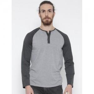 Fort Collins Men Grey Melange Colourblocked Henley Neck T-shirt