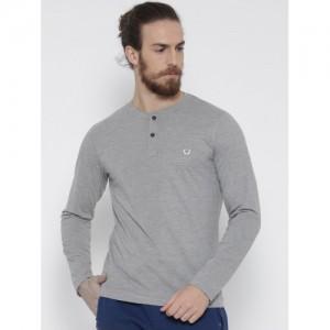 Fort Collins Men Grey Melange Solid Henley Neck T-shirt