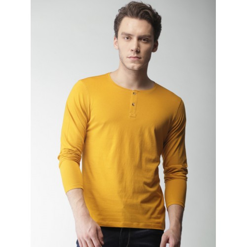 Mast & Harbour Mustard Yellow Cotton Solid T-shirt