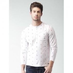 Mast & Harbour Men White Printed Henley Neck T-Shirt