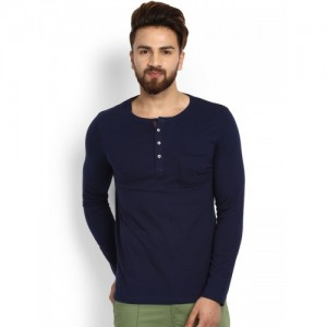 MR BUTTON Men Blue Solid Henley Neck T-shirt