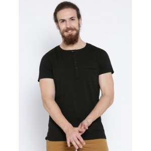 MR BUTTON Black Structured Fit Henley T-shirt
