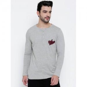 MR BUTTON Men Grey Melange Structured Fit Solid Henley Neck T-shirt