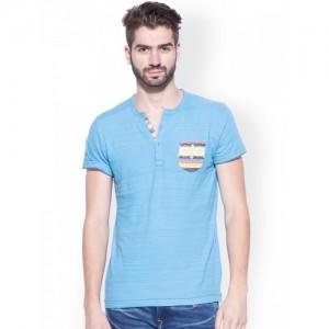 Mufti Blue Slim Fit Henley T-shirt