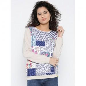Monte Carlo Women Beige & Blue Printed Sweatshirt