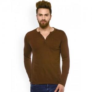 Mufti Men Brown Solid Henley Neck T-shirt