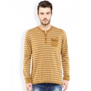 Mufti Beige Self-Striped Slim Fit Henley T-shirt