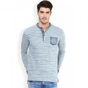 Mufti Blue Self-Striped Slim Fit Henley T-shirt