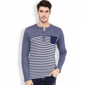 Mufti Navy & White Striped Slim Fit Henley T-shirt