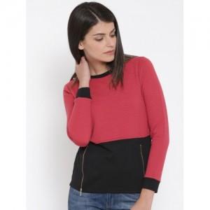 United Colors of Benetton Pink & Black Colourblocked Textured Sweatshirt