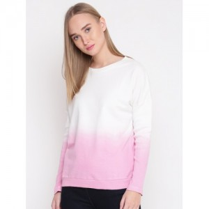 United Colors of Benetton Women White & Pink Ombre-Dyed Sweatshirt