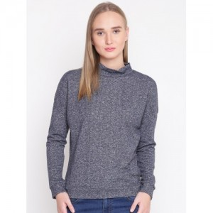 United Colors of Benetton Women Grey Cold Shoulder Solid Sweatshirt