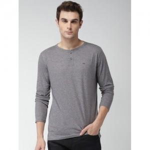 Tommy Hilfiger Men Grey Solid Henley T-shirt
